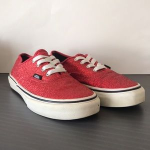 Kids Classic Vans Sparkly Red